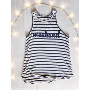 """Grayson and Threads Striped """"Weekend"""" Tank Top 